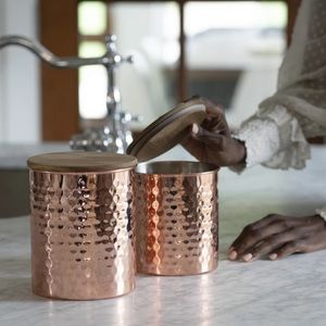 UNCOMMON JAMES Hammered Copper Canisters Set of 2